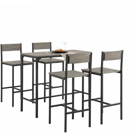 SoBuy®Set de 4 Taburetes con respaldos y 1 mesa ,juego de 5 piezas mesa comedor,OGT14,ES