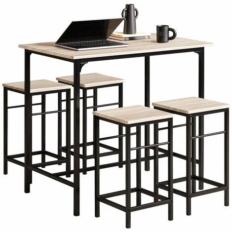 SoBuy®Set de 4 Taburetes y 1 mesa de jardín, , juego de 5 piezas comedor mesa, OGT11-N