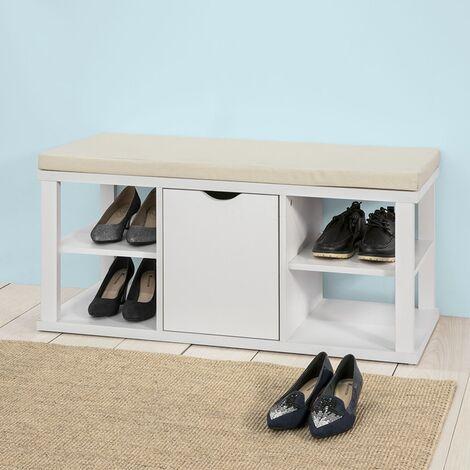 SoBuy®Zapatero con asiento, armario, Banco de Almacenamiento con estantes para Guardar y Ordenar, FSR52-W