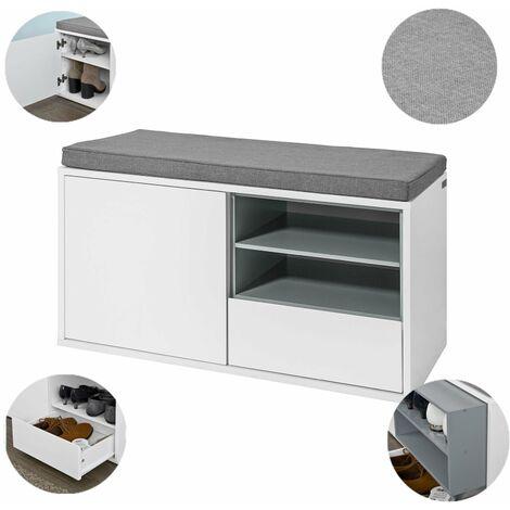 SoBuy®zapatero con asiento, armario, banco para cambiar los zapatos, Banco de Almacenamiento con cajones para Guardar y Ordenar, FSR37-W