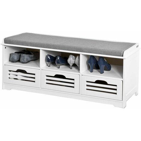 SoBuy®zapatero con tres estantes y tres cajones, Almacenamiento y banco con Cojín en superior?armarios, FSR36-W