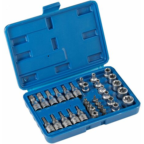 Socket set 34 pieces - torx set, torx bit set, bit set - blue