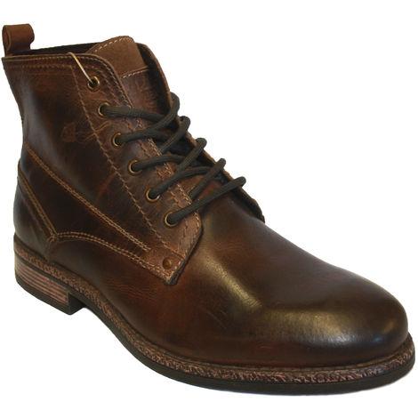 Socks Uwear Jupiter Real Leather Lined Lace-Up Derby Boots, Leather, 10 UK, EU 44