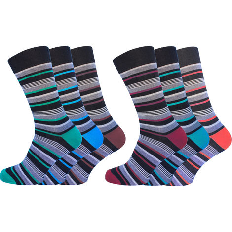 Socks Uwear Mens Cotton Rich Loose Top No Elastic Multipack Pattern Socks
