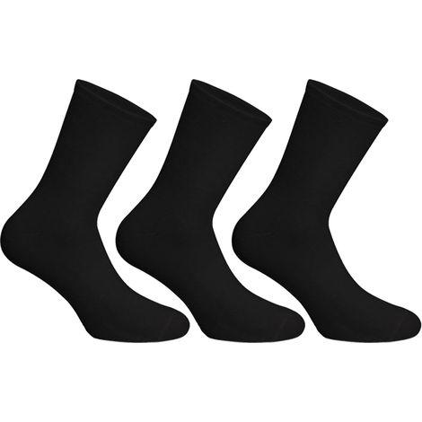 Socks Uwear Mens Cotton Rich Smooth Plain Short Socks-UK 6-11 Black (Pack of 6)