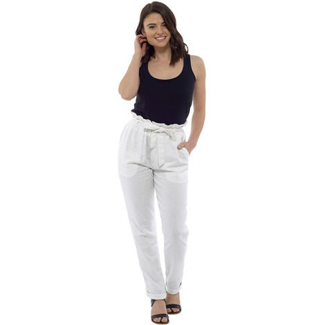 Socks Uwear Womens Paperbag Waist Linen Trouser Bottoms Pants