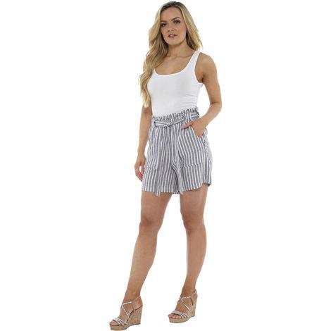 Socks Uwear Womens Striped Paperbag Waist Easy Care Linen Summer Shorts