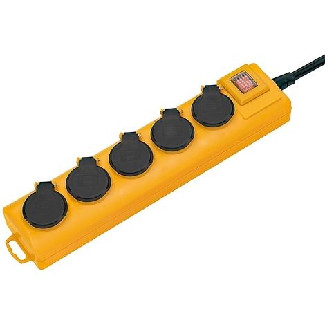 Socle 5 prises BRENNESTUHL interrupteur et volet IP54 - jaune - 1159901215