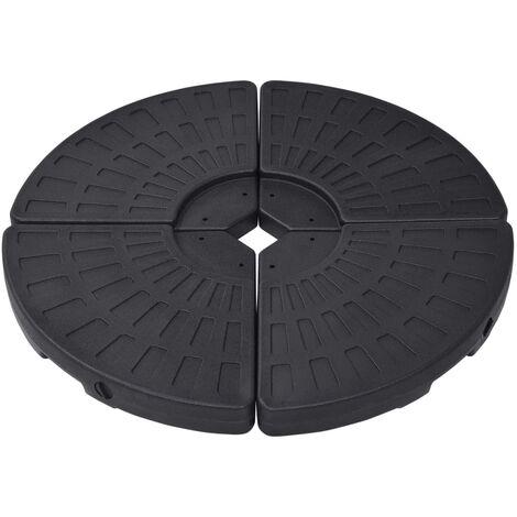 Socle de parasol en forme d'éventail 4 pcs Noir