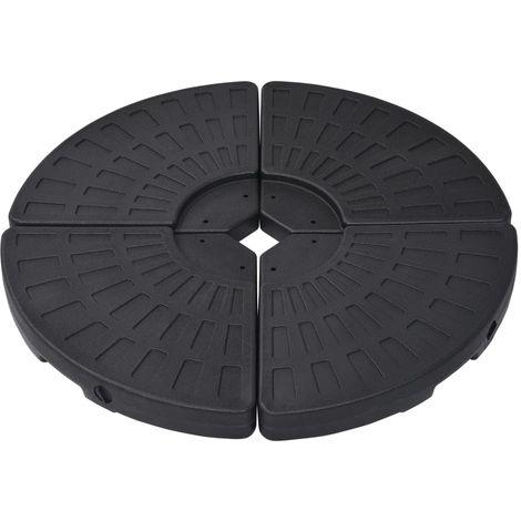Socle de parasol en forme d'eventail 4 pcs Noir