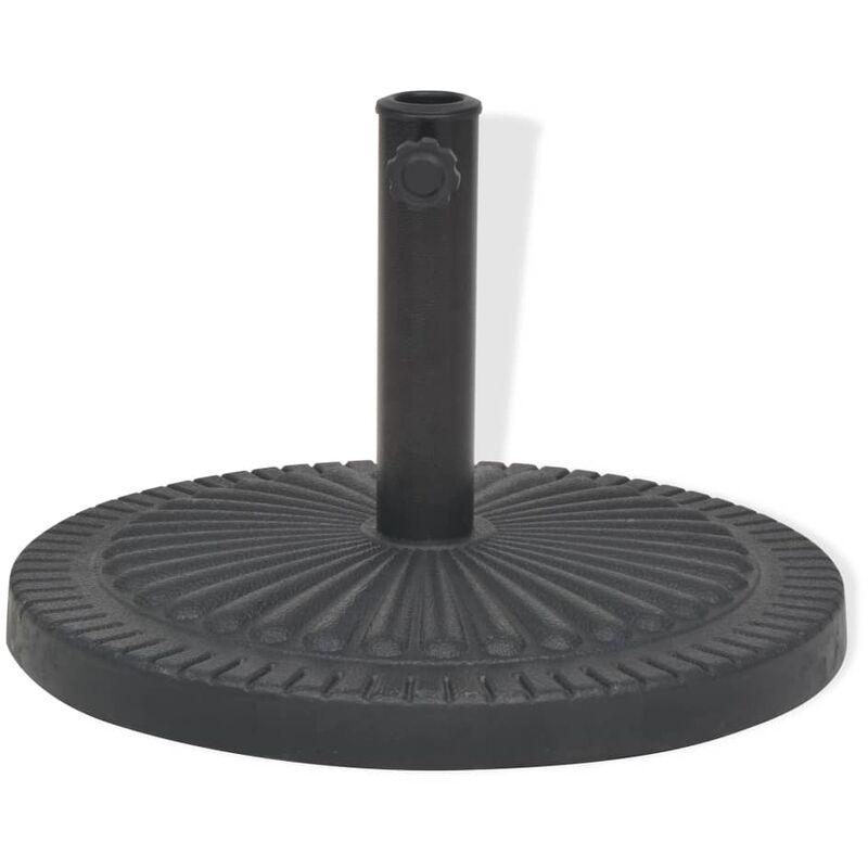 Socle De Parasol Résine Rond Noir 14 Kg