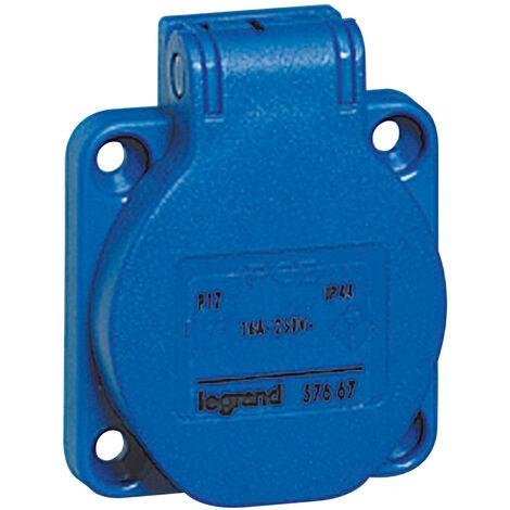 Socle de tableau P17 - 16 A - 250 V~ - brochage dom - encombrement réduit - bleu