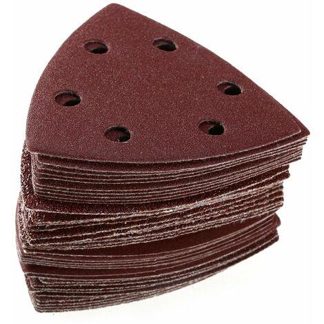 SOEKAVIA 100PCS Triangle Disques à poncer Papier abrasif 6 Trou Grit 40/60/80/120/240