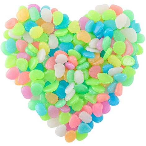 SOEKAVIA 200 pièces de galets lumineux, pierres fluorescentes, pierres lumineuses colorées, pierres nocturnes, pour la décoration de jardin d'aquarium