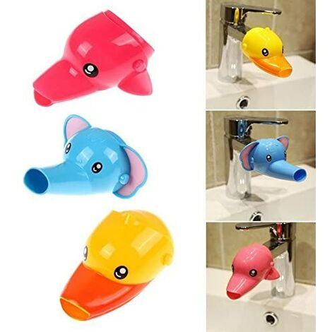 SOEKAVIA 2pcs Robinet Extension de robinet Extender pour Enfant Bébé Se Laver les Mains Cartoon Animal Design de lavage Salle de Bain Lavabo Canard + éléphant
