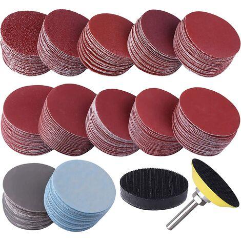 SOEKAVIA 300 Pièces Disques de Ponçage 50mm Disques Abrasifs Grain 80 180 240 320 400 600 800 1000 2000 3000 pour Meulage Fraisage Gravure