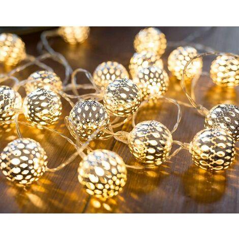SOEKAVIA 3M 20 Leds guirlandes lumineuses marocaines LED guirlandes blanches chaudes boules blanches orientales chaîne LED argentée à piles
