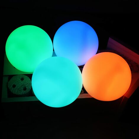SOEKAVIA 4 pcs Lumière de Piscine Flottante,IP68 Étanche Boule lumineuse LED,Lampe de Piscine à LED 16 Couleurs RVB Changement avec Télécommande postuler Baignoire,Boule Lumineuse Exterieure,Fête,Mariage