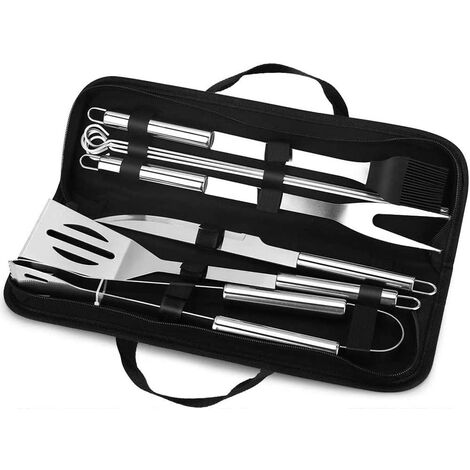 """main image of """"SOEKAVIA 4PCS BBQ Utensils, Premium Stainless Steel BBQ Accessories with Wooden Handle, Portable BBQ Kit with Bag for Camping Travel Garden, Gifts for Men (4pcs)"""""""