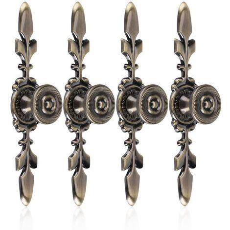 SOEKAVIA 4Pcs Poignées de tiroirs Vintage Style en Alliage de Zinc Bouton Traction de Meubles Tiroir Armoire Placard Armoire avec Vis Décoration Maison(Green Bronze)