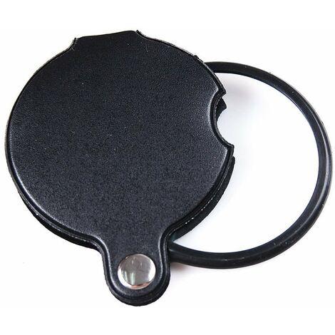 SOEKAVIA 60mm diamètre 10x mini lentille en verre loupe de lecture loupe de poche loupe loupe d'horloger pliable avec couverture en cuir PU - noir