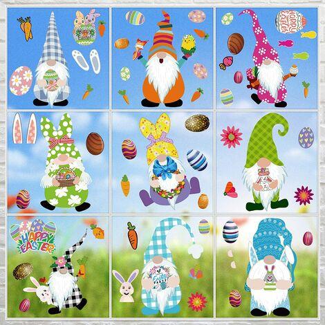 SOEKAVIA 9 Feuilles Décorations de Pâques Stickers Fenêtre Lapin Pâques Gnome Autocollants de Fenêtre Oeufs Carotte Lapin Fleurs Stickers Décor pour Pâques Maison, Bureau, École, Fête
