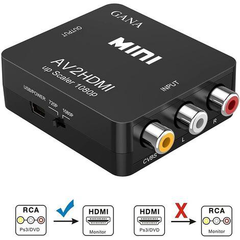SOEKAVIA Adaptateur RCA vers HDMI   Convertisseur AV vers HDMI Adaptateur AV vers HDMI Prise en charge 1080P avec câble de chargement USB Étui de protection pour PC / Nintendo / Xbox / PS4 / PS3 / TV / STB / VHS / magnétoscope / appareil photo / DVD (noir