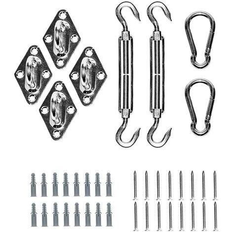 SOEKAVIA Auvent Accessoires de fixation Kit de montage carré en acier inoxydable