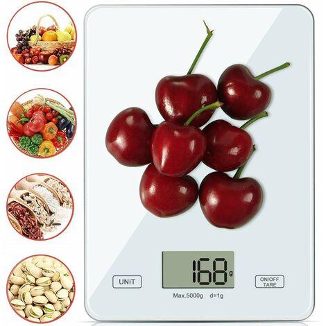 SOEKAVIA Balances de cuisine Balances numériques Balances professionnelles Balances de cuisine électroniques, balances numériques domestiques numériques avec écran LCD - Précision merveilleuse jusqu'à 1g - 5kg poids maximum blanc