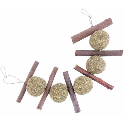 SOEKAVIA Bâtonnets de pomme de lapin, une pile de jouets à mâcher pour lapin, des friandises pour cochons dInde et des produits à mâcher pour animaux de compagnie