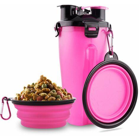 SOEKAVIA Bouteille d'eau pour chien, 2 en 1, portable, étanche, pour chien, avec 2 gamelles pliables pour chien, rose