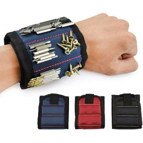 SOEKAVIA Bracelet Magnétique, 10 Puissants Aimants Forts Magnet Arm Band pour les Vis de Maintien, Rondelles, Ciseaux, Petits Outils, Trépans de Forage, le meilleur outil cadeau pour bricoleur Craftsman