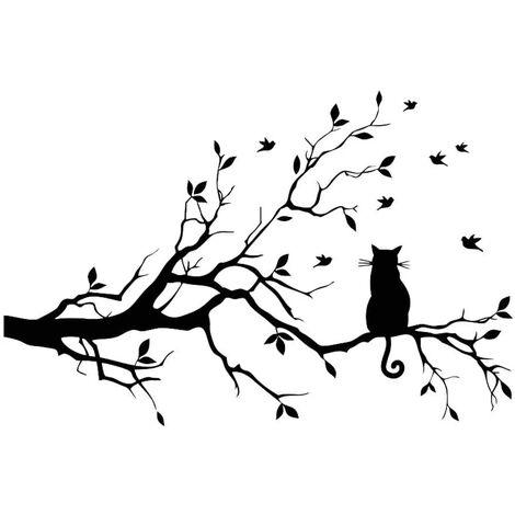 SOEKAVIA Branche d'arbre feuilles avec chat stickers muraux autocollants amovible vinyle oiseau autocollant autocollant décor pour la maison décorations de chambre noir