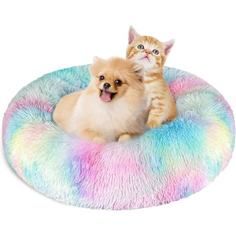 """main image of """"SOEKAVIA Cat Dogs Bed Round Baskets 60 cm, Washable and Warm Pet Donut Cushion Super Soft and Comfortable for Small Dogs and Cats - Colorful"""""""