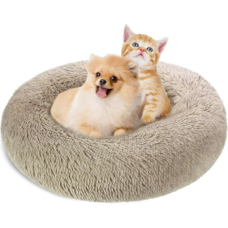 """main image of """"SOEKAVIA Cat Dogs Bed Round Baskets 60cm, Washable and Warm Pet Donut Cushion Super Soft and Comfortable for Small Dogs and Cats - Light Brown"""""""