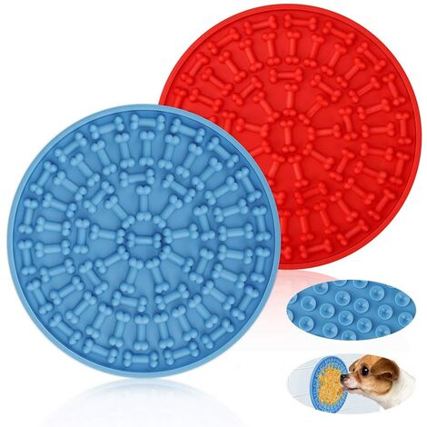 SOEKAVIA Chien Lick Pad Chien Dog Grooming Helper pour Animaux Chien Lave Distraction Dispositif de Distraction pour Le Bain pour Animaux de Compagnie - Bleu, Rouge