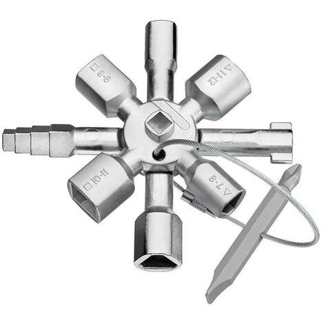 SOEKAVIA Cle Utilitaire Multifonction, Clé utilitaire 10 en 1, clé cruciforme universelle, multifonction, adaptée pour compteur de gaz, d'eau, électrique, boîte de contrôle d'armoire de train (argent)