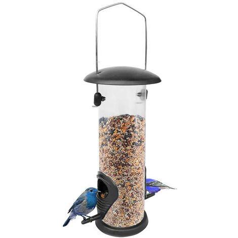 SOEKAVIA Colonne d'alimentation, mangeoire, mangeoire à oiseaux, PVC écologique, mangeoire à oiseaux à suspendre pour les oiseaux sauvages, mangeoire à oiseaux pour aliments mixtes lourds, noir