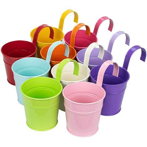 SOEKAVIA coloré fer Pot de fleurs à suspendre Pots de fleurs balcon Jardin Plante Pot de fleurs en métal Seau Fleur Supports – 10 couleurs aléatoires