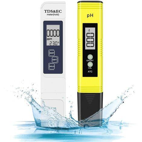 SOEKAVIA Combiné pH-mètre numérique et TDS, testeur de pH 0,05ph avec une haute précision +/- 2% de précision de lecture Testeur TDS, testeur de qualité de l'eau pour eau potable / piscine / aquarium / piscines (Blanc)