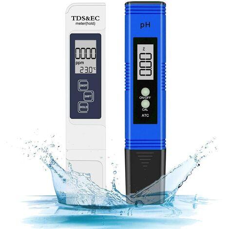 SOEKAVIA Combiné pH-mètre numérique et TDS, testeur de pH 0,05ph avec une haute précision +/- 2% de précision de lecture Testeur TDS, testeur de qualité de l'eau pour eau potable / piscine / aquarium / piscines (brassage)