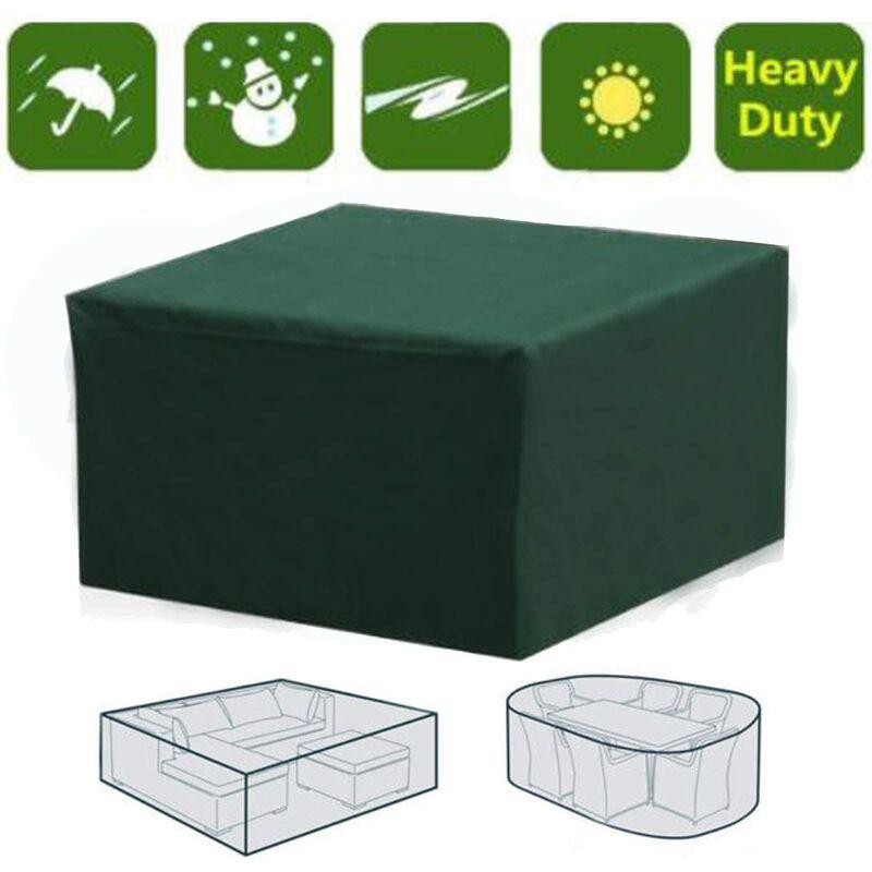 Couverture rectangulaire imperméable pour meubles de jardin avec protection UV pour table de patio, meubles de jardin, vert, 126 * 126 * 74cm