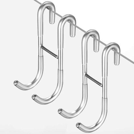 SOEKAVIA Crochets de douche sans crochets de perçage Paroi de douche lot de 2 avec protecteur en silicone pour paroi de douche en verre, porte-serviettes et support pour raclette de douche