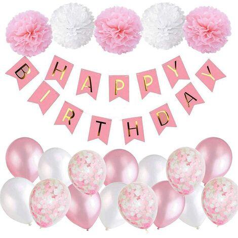 SOEKAVIA Décoration d'anniversaire fille guirlande de joyeux anniversaire rose avec pompons et ballons ballons de confettis roses pour la décoration de fête d'anniversaire filles et femmes
