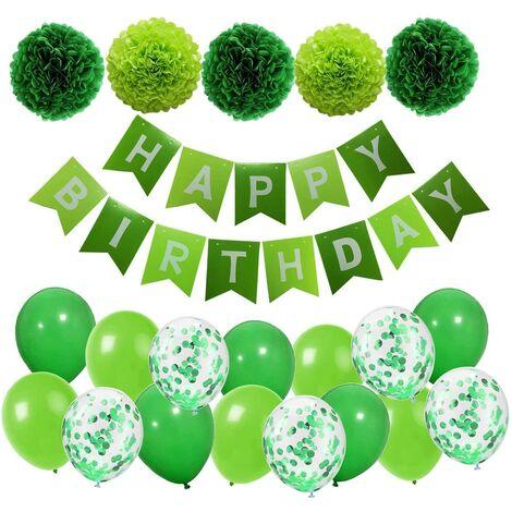 SOEKAVIA Décoration d'anniversaire Guirlande de joyeux anniversaire verte avec pompons et ballons Ballons confettis verts pour la décoration de fête d'anniversaire