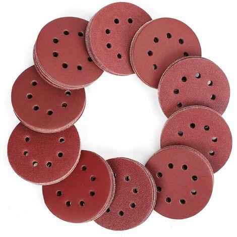 SOEKAVIA Disque de Ponçage, 100pcs Disques Abrasifs 40-800 Grain Taille de 125mm Idéal pour Poncer/Polir/Dérouiller(8 trous)
