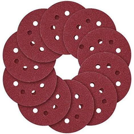 """SOEKAVIA Disques de ponçage, 5""""(125 mm) 8 trous Crochet et boucle, 40 60 80100 120 150 180 240 320 400 600 800 Papier abrasif à grains variés (Paquet de 120)…"""