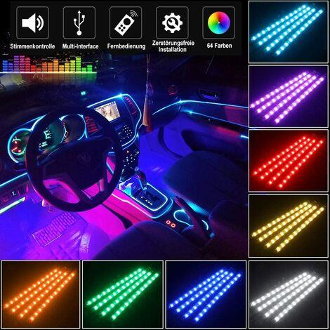 SOEKAVIA Éclairage intérieur à LED de voiture, musique multicolore à 72 LED avec fonction active sonore et télécommande sans fil, DC 12V