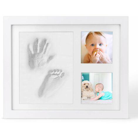 SOEKAVIA Empreinte de main et empreinte de bébé, ensemble de cadre photo pour bébé, cadre photo en bois pour bébé avec plâtre, ensemble de plâtre pour les mains et les pieds, album photo d'empreinte, cadeaux pour bébés pour bébés, nouveau-nés