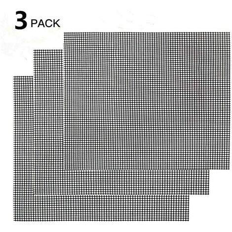 SOEKAVIA Ensemble de 3 tapis de gril - tapis de cuisson rectangulaire, tapis de cuisson permanents, revêtement antiadhésif, homologation LFGB et FDA (noir, 42 * 36 cm)